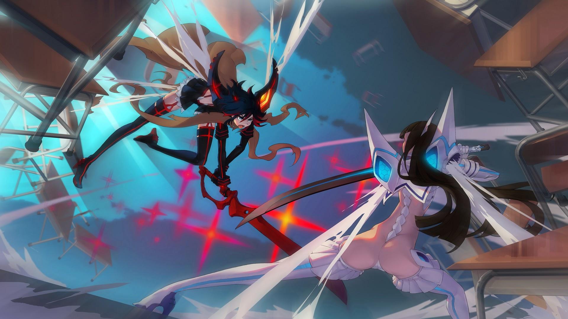 vs kiryuin satsuki kill la kill fighting anime girl image hd wallpaper 1920x1080