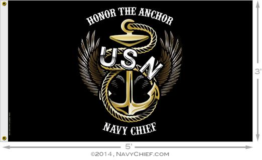 NavyChiefcom Honor The Anchor Navy Chief Flag 3 x 5 522x320