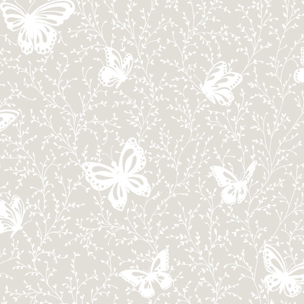 Butterfly Garden Gray Prepasted Wallpaper   Wall Sticker Outlet 600x600