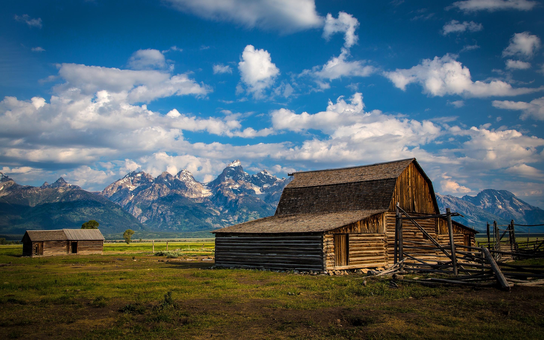 Barn Farm Mountains Clouds Landscape wallpaper 2880x1800 166814 2880x1800