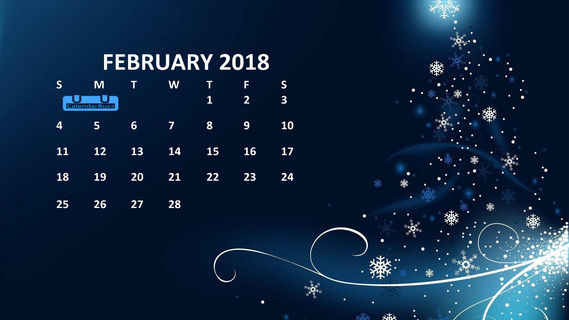 February 2018 Calendar Wallpaper Calendar Template 1920x1080