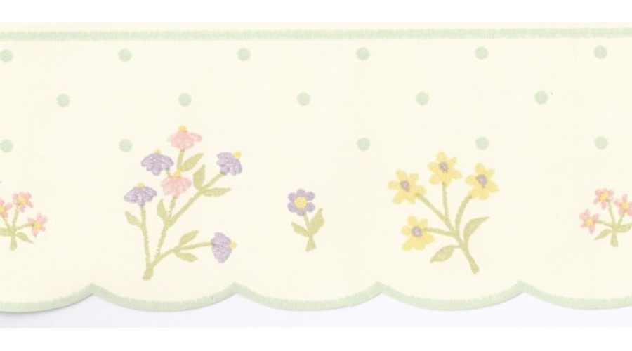 Home Cream Polka Dot Flower Wallpaper Border 900x500