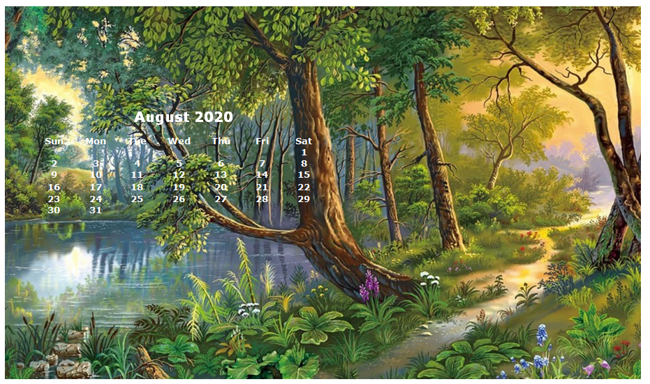 Monthly 2020 Desktop Calendar Wallpaper 931x551