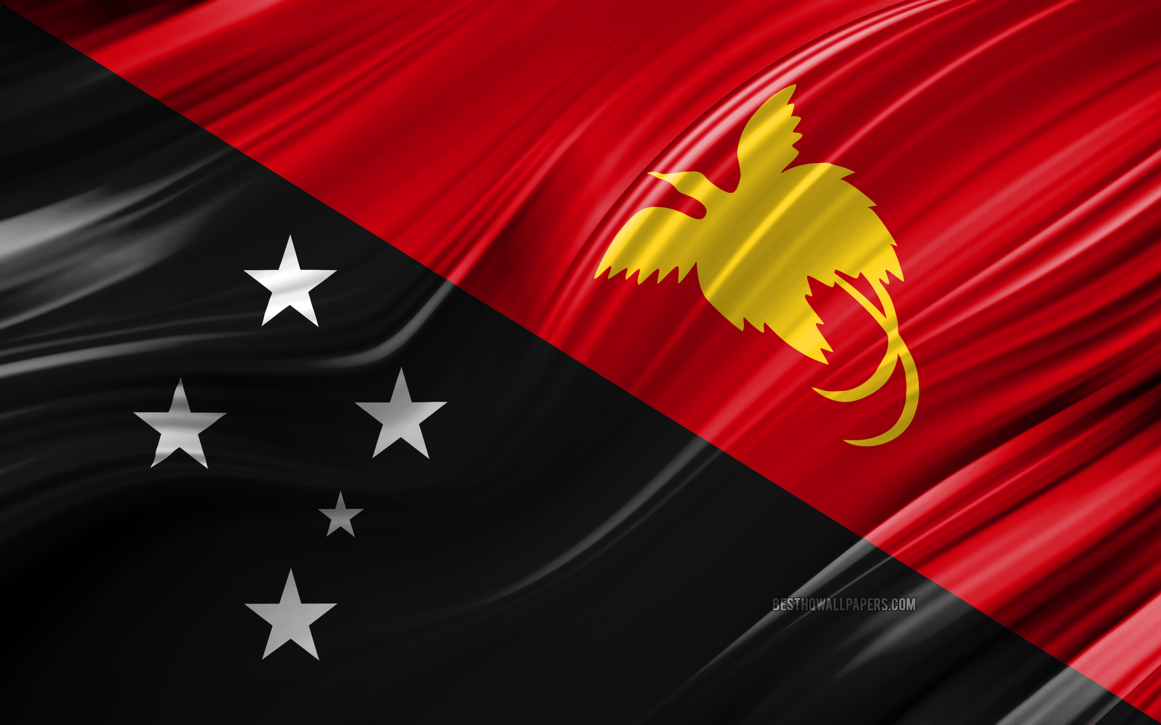 Download wallpapers 4k Papua New Guinea flag Oceanian countries 3840x2400
