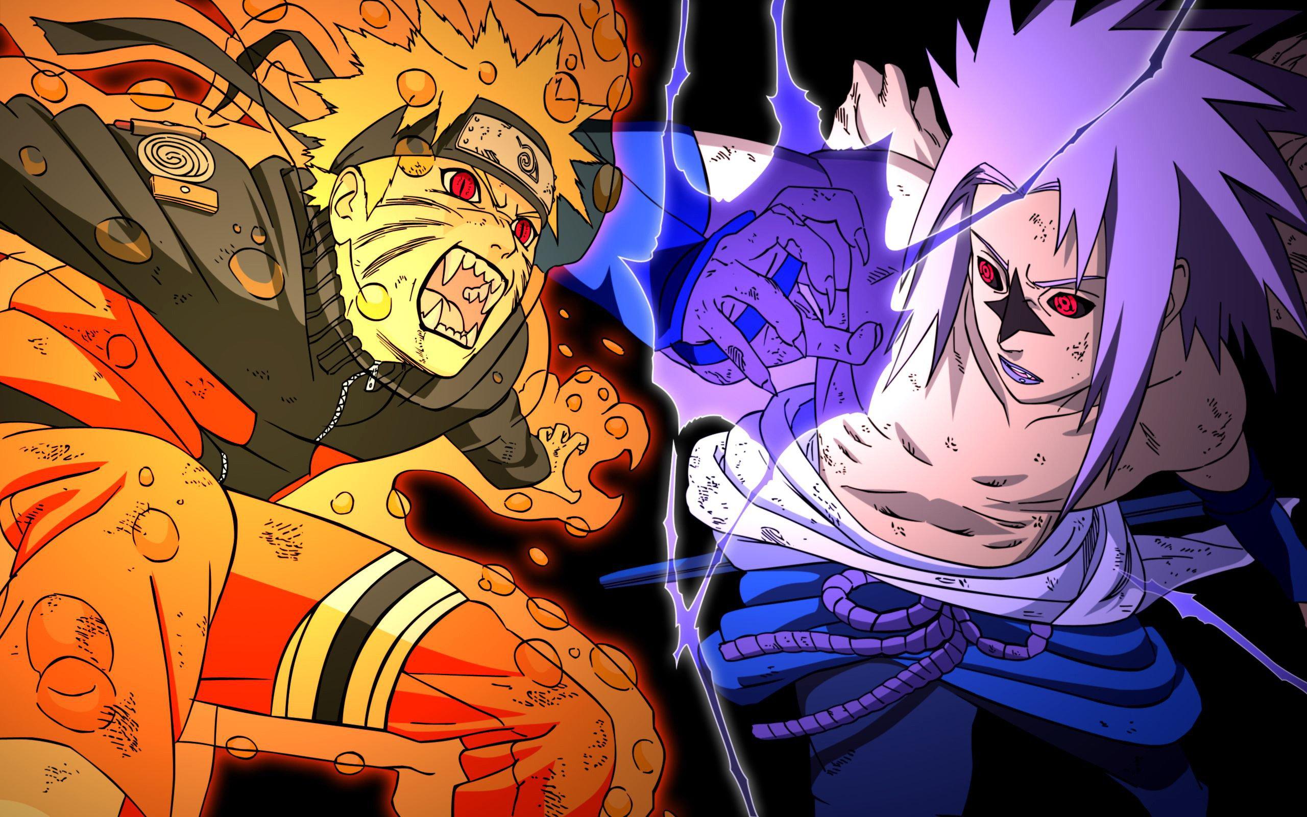 naruto vs sasuke naruto uzumaki sasuke uchiha anime 2560x1600 2560x1600