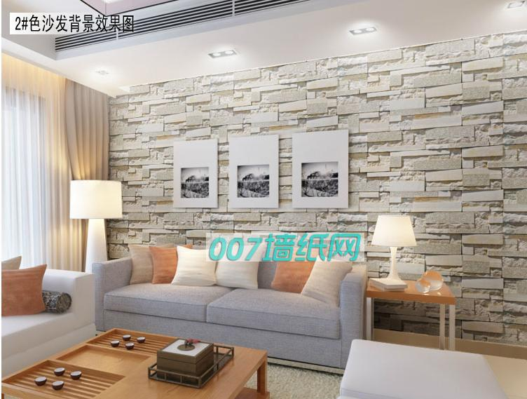 PVC wallpaper faux brick grain TV wall sitting room background 752x569
