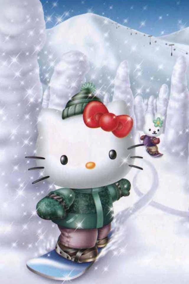 3d Hello Kitty Skiing Iphone 4s Wallpapers 640x960 Hd Phone 640x960