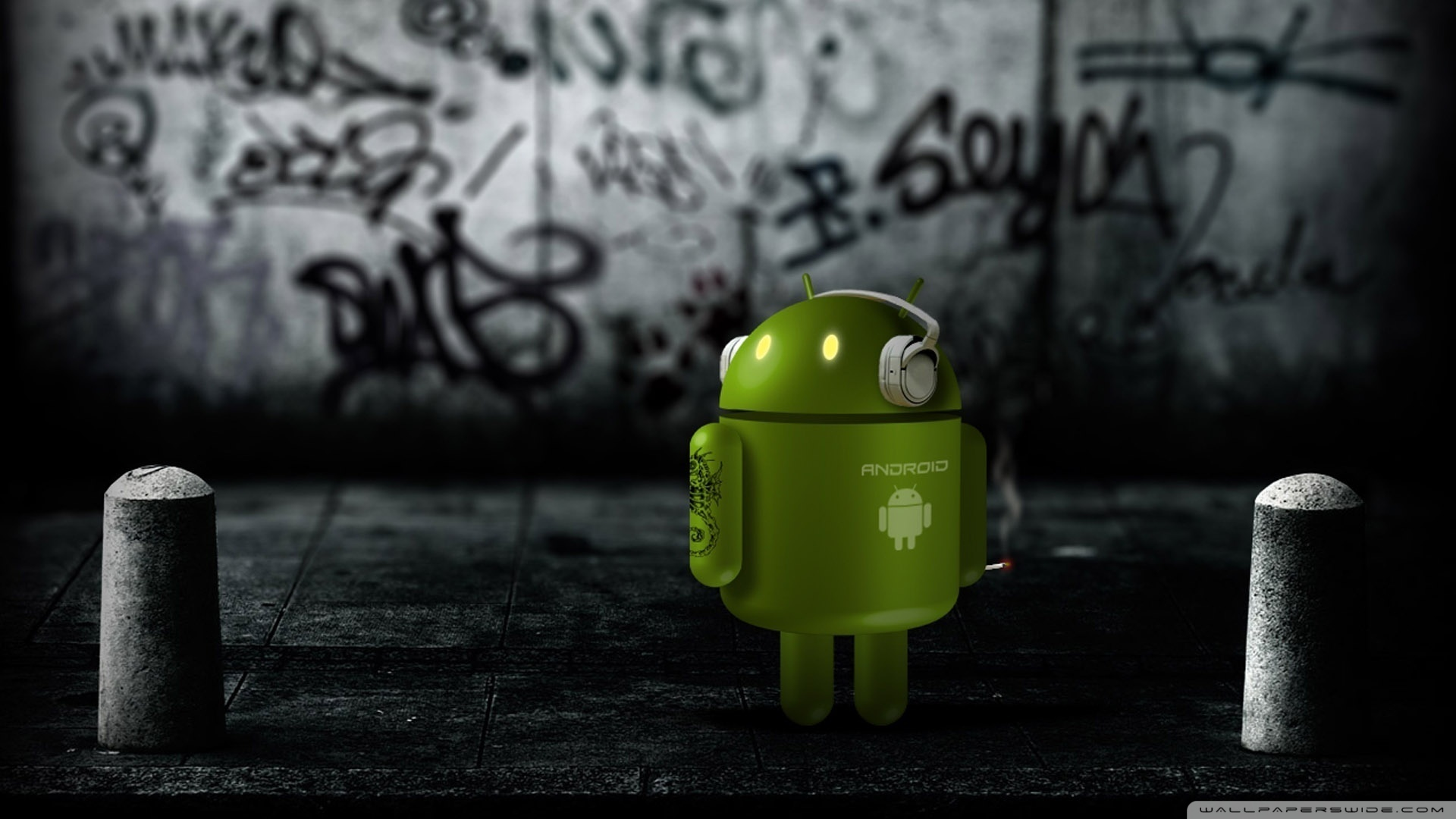 Android Robot Listening To Music Wallpaper 1920x1080 Android Robot 1920x1080