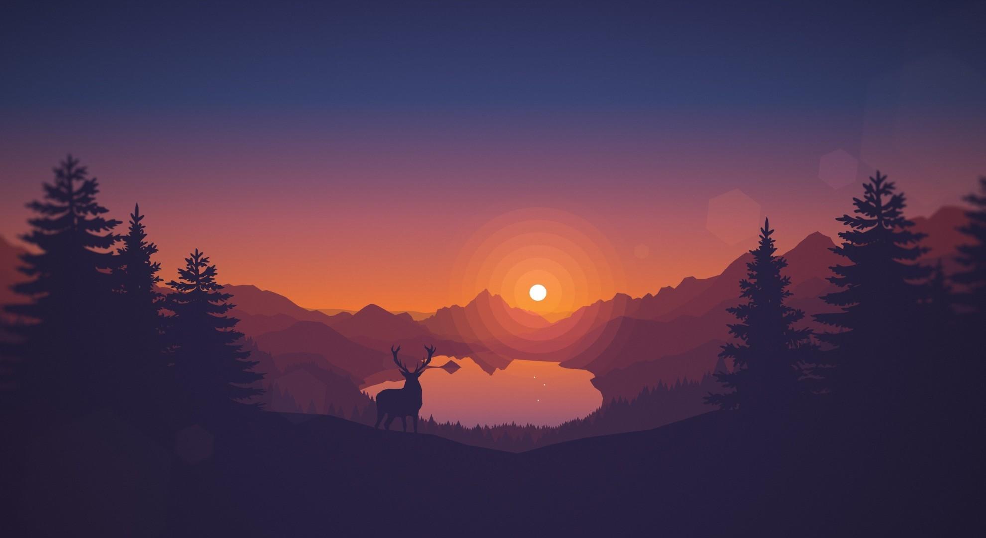 Download 1980x1080 Minimalism Scenic Toon Colors Deer Sun 1980x1080