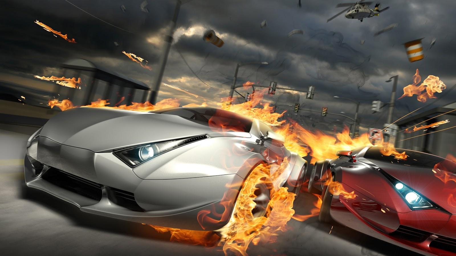 burning car race hd 1080p burnout revenge car accident wallpaper car 1600x900
