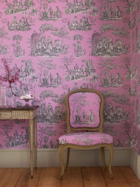 Classic Wallpaper Pattern Toiles de Jouy Apartment Therapy 450x600