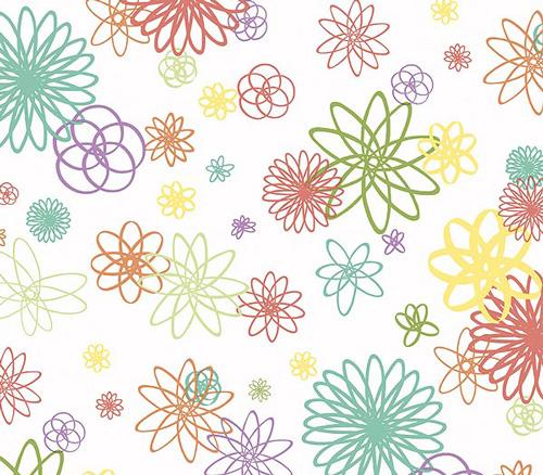 Spiral Flowers Wallpaper DOUBLE ROLL   Murals For Kids 500x438