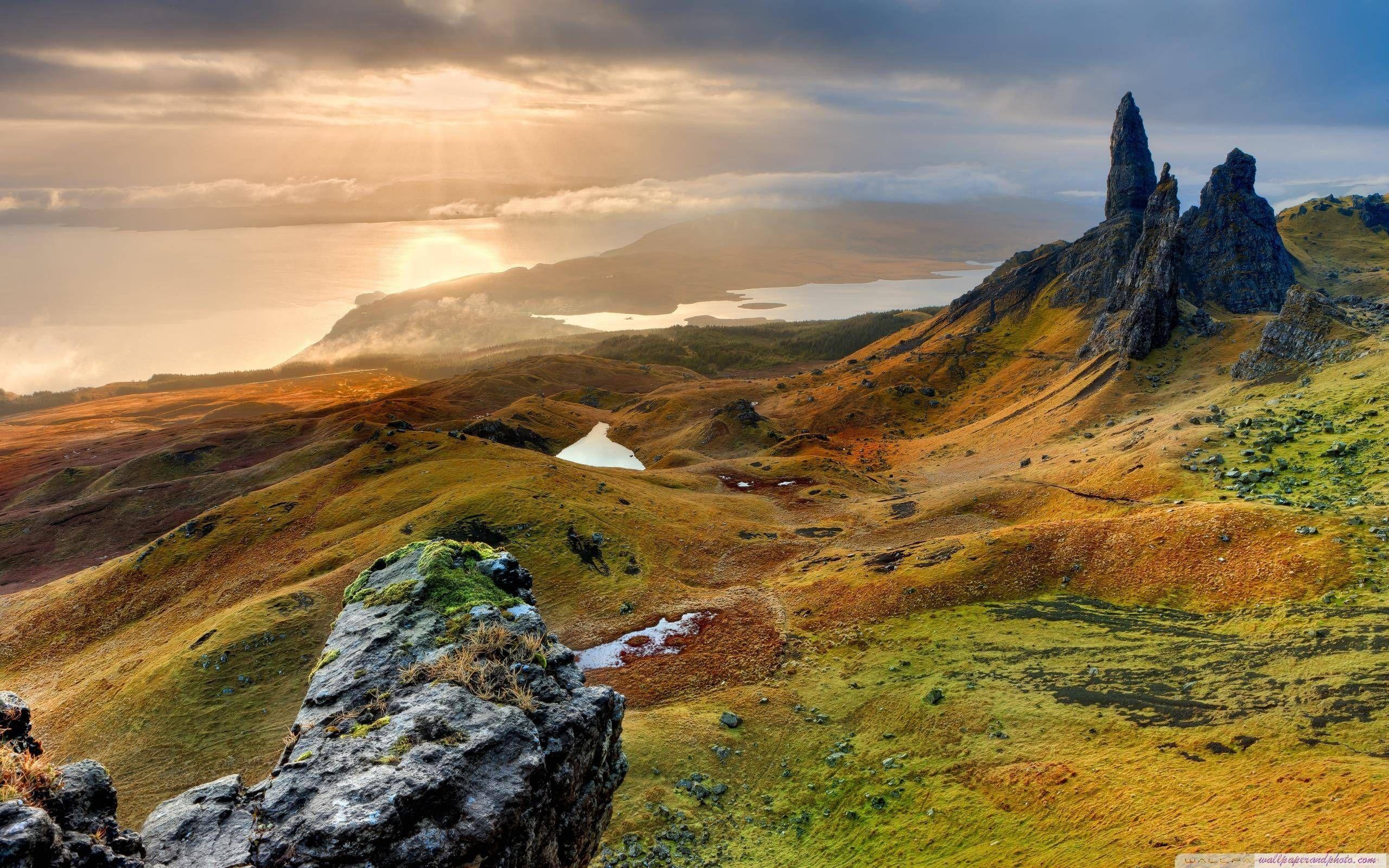 The Storr Hill Panorama Scotland HD 169 1610 desktop wallpaper 2560x1600