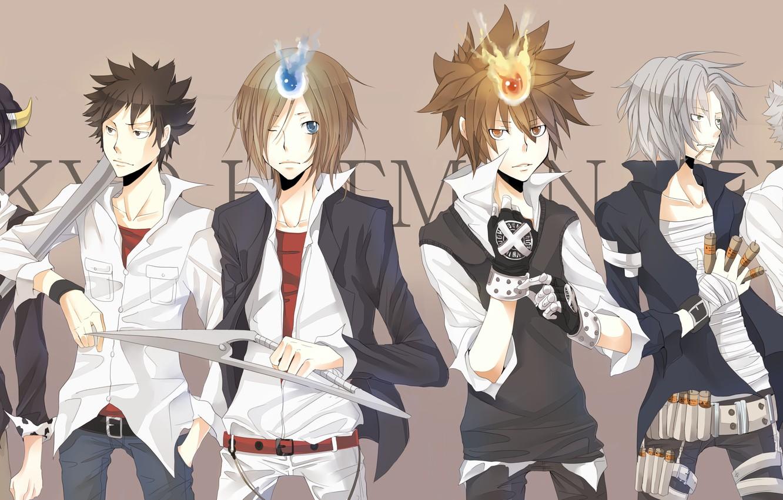 Wallpaper anime guys Lambo characters Sawada Tsunayoshi 1332x850