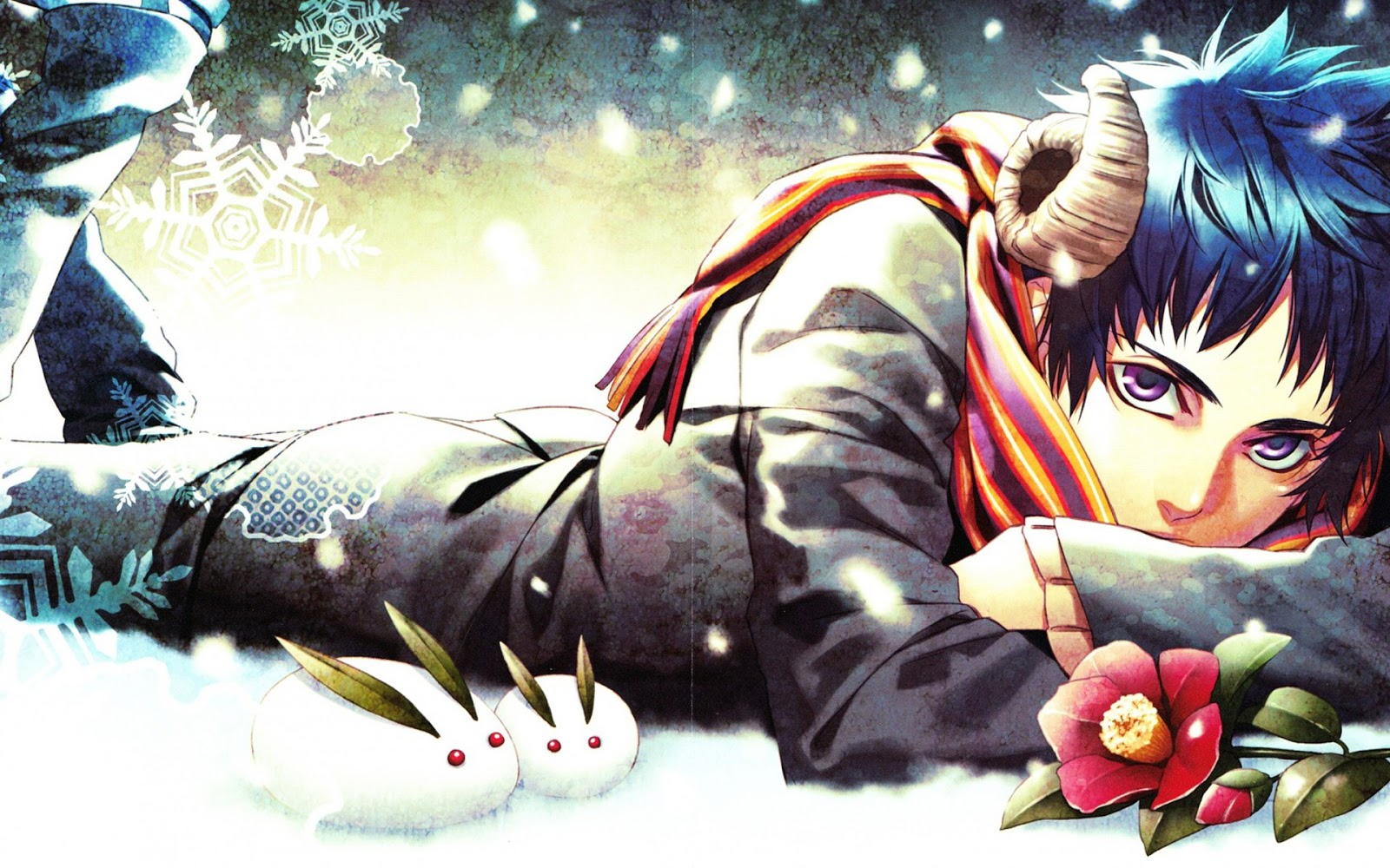 Male Guy Horn Snowflakes Snow scarf Anime HD Wallpaper Backgrounds 1600x1000