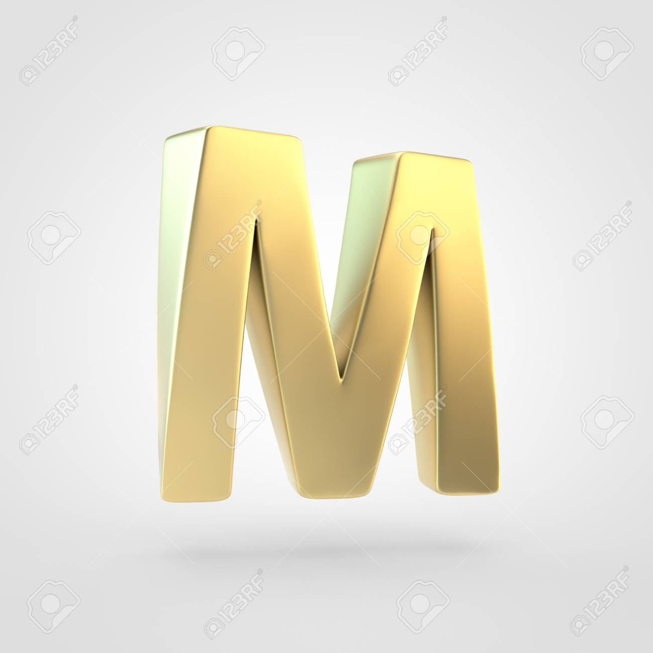 Golden Letter M Uppercase 3D Rendering Of Matted Golden Font 1300x1300