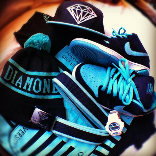 swag shoes nike tiffany Diamond Supply Co nikes diamond supply diamond 500x500