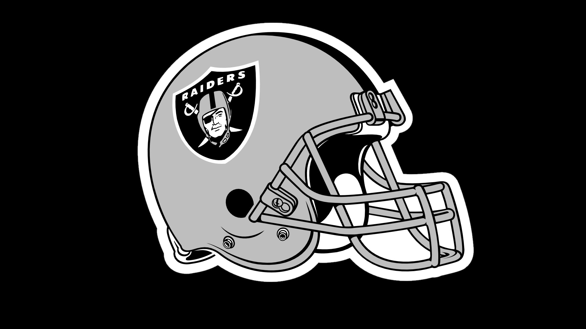 Oakland Raiders Helmet Logo On Black Background 1920x1080 HD by 1920x1080