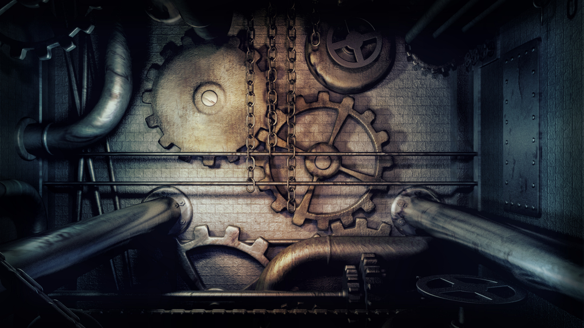 Steampunk Gears Iphone Wallpaper Steampunk gears pipes chains 1920x1080