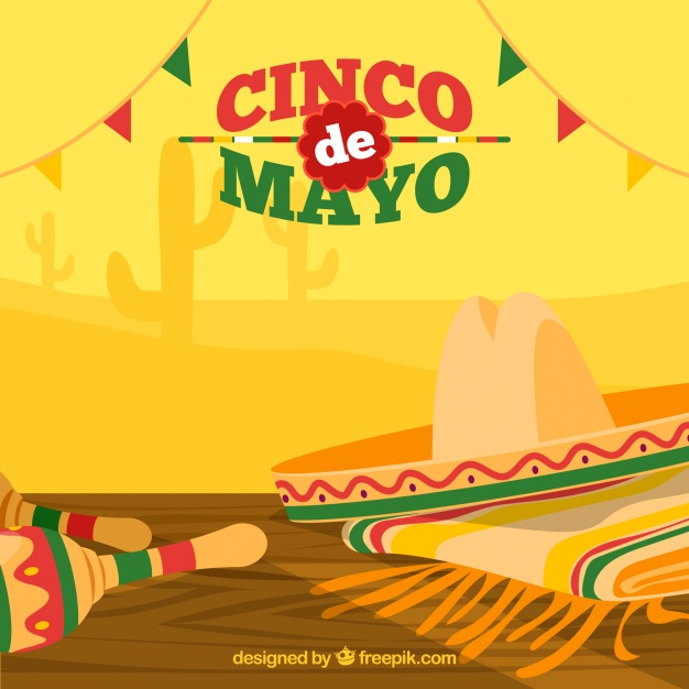 Great background with hat and maracas for cinco de mayo 626x626