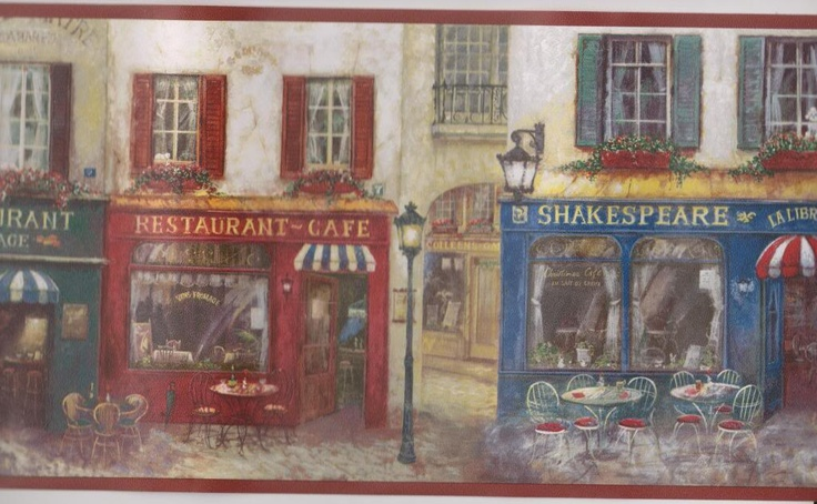 french bistro wallpaper borders French Cafe Scene Wallpaper Border 736x454