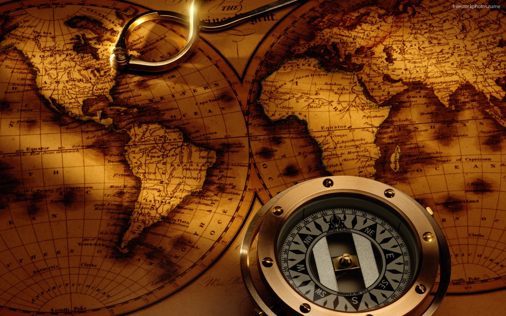 download Download Stock Photos of old world map with compass 1680x1050