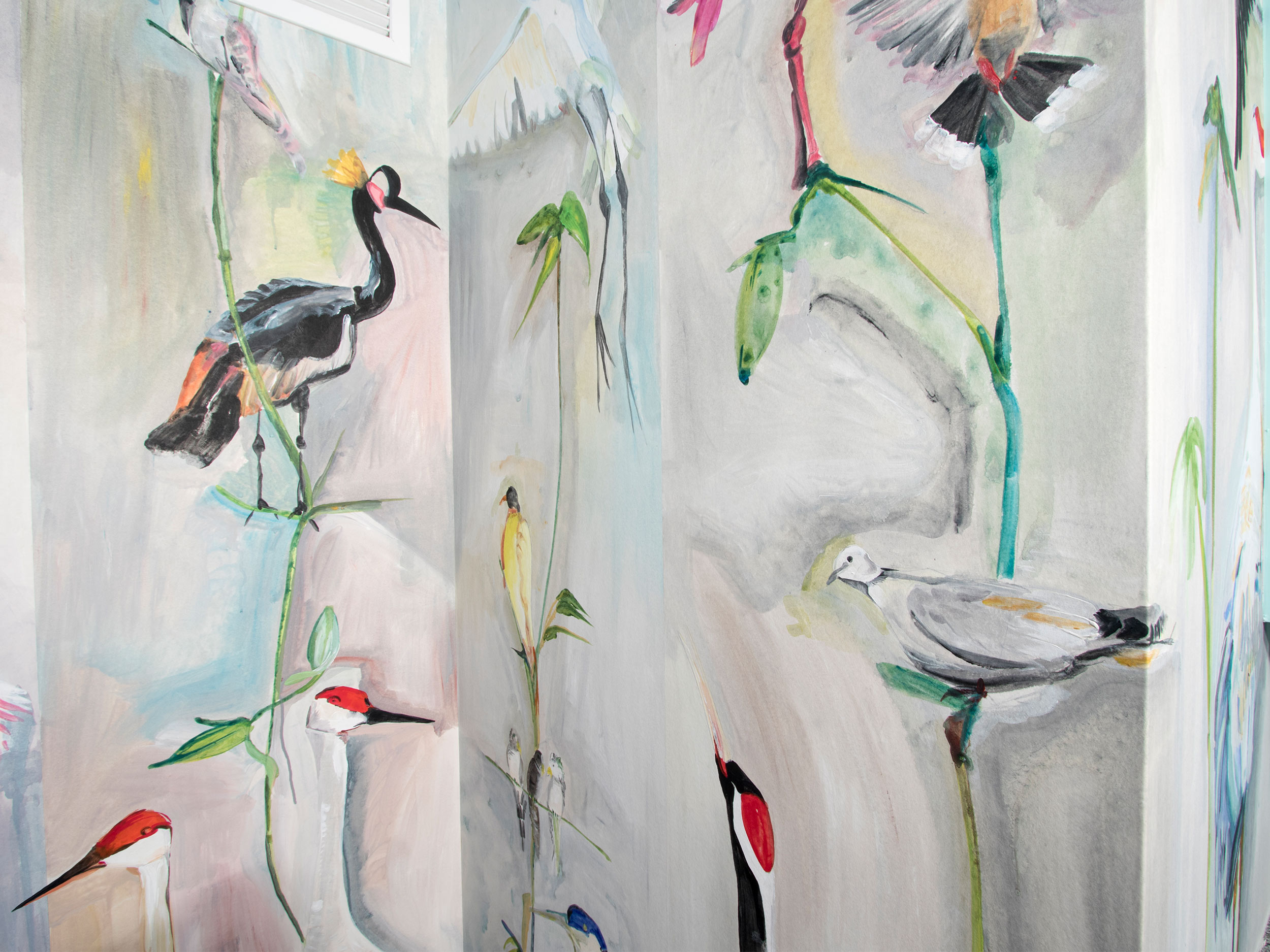 Hand Painted Birds Wallpaper Ceiling 2500x1875