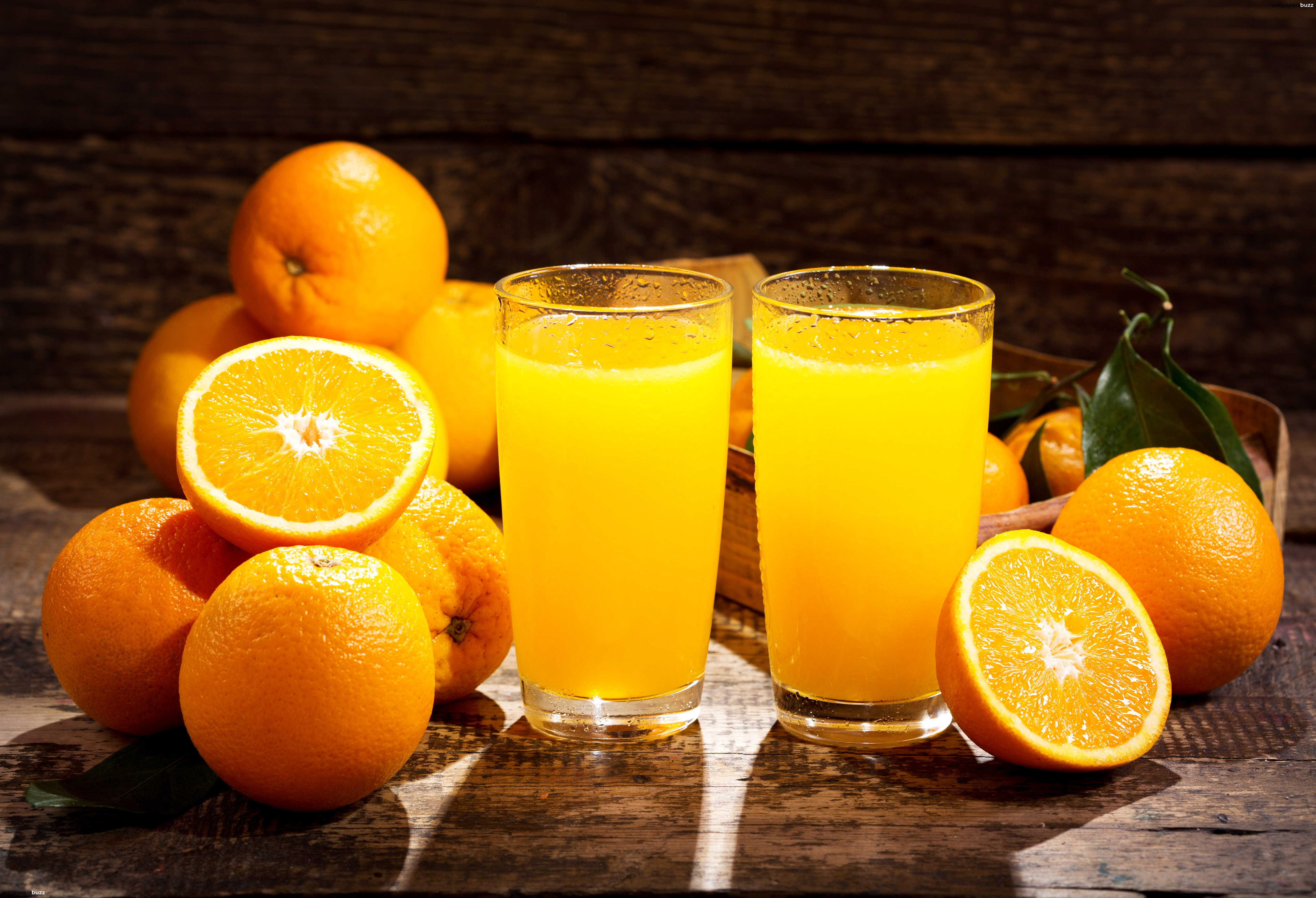 Fresh orange juice HD Wallpaper 5100x3481