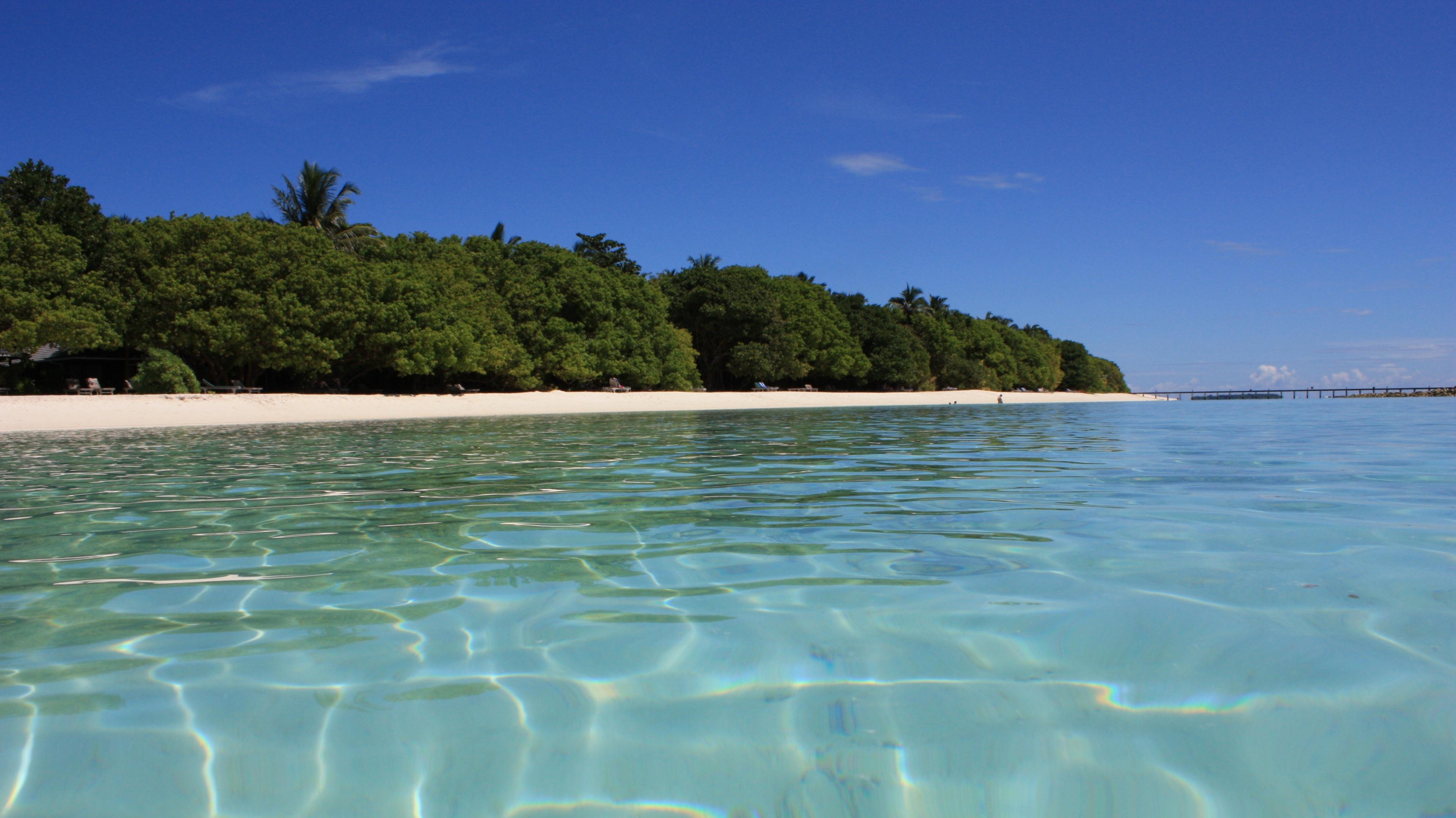 Maldives Sea Summer Beach Wallpaper Background 4K Ultra HD 3840x2160