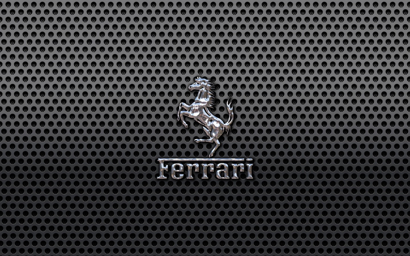 Ferrari Prancing Horse of Maranello logo on a black metal mesh 1440x900