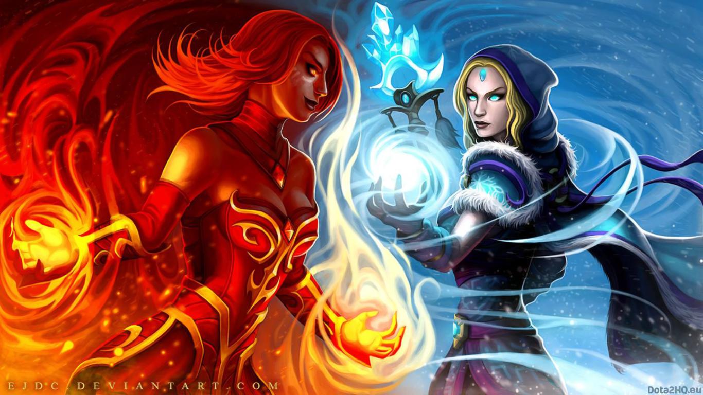DOTA 2 Lina vs Crystal Maiden   DOTA 2 1366x768