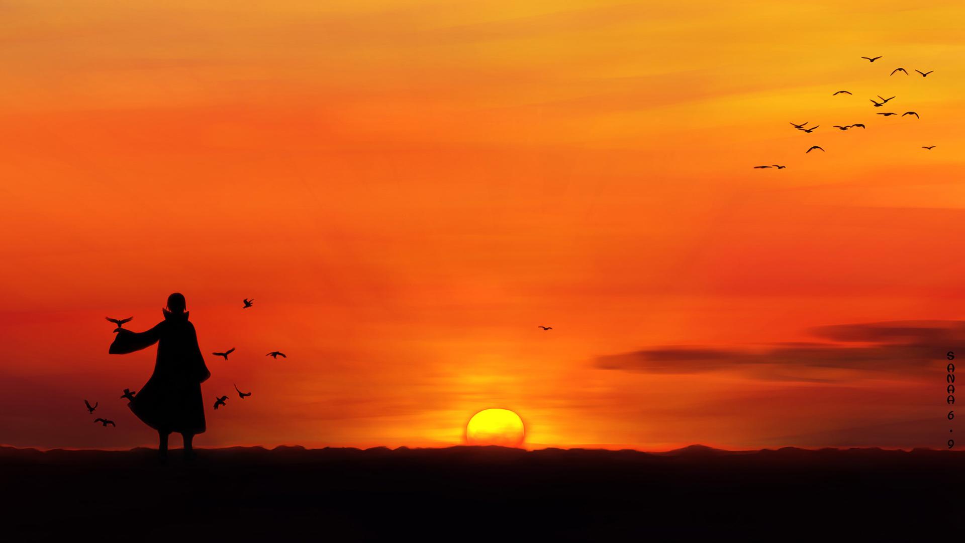 itachi uchiha sunset scenery hd wallpaper full resolution 1920x1080 1920x1080