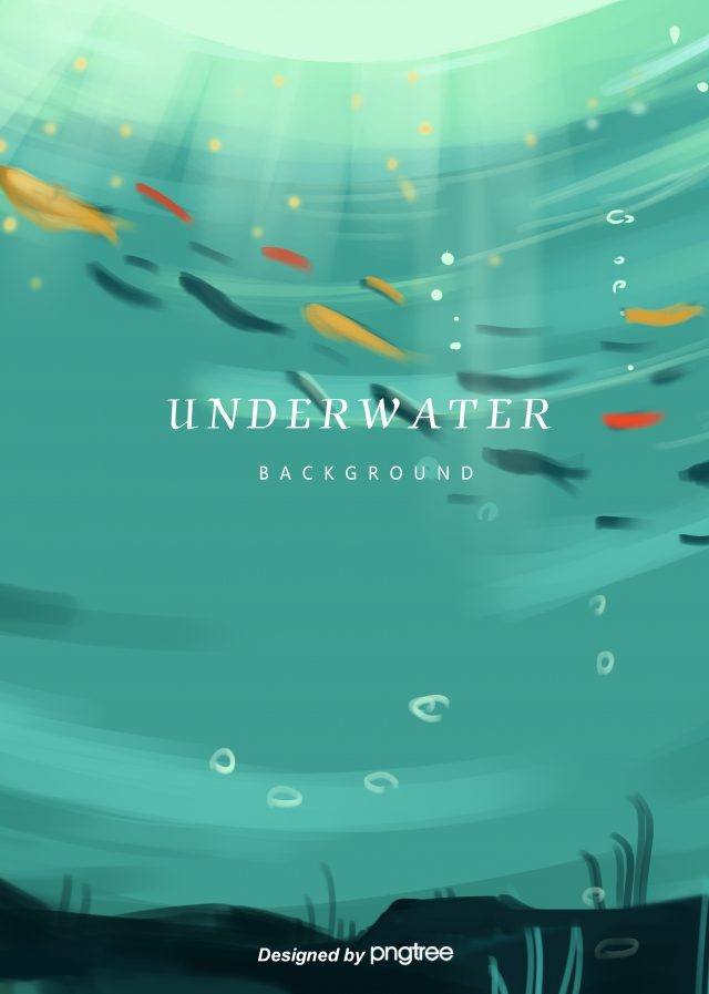 Deep Sea Background Picture Hand Drawn Style Water Drops Seabed 640x897