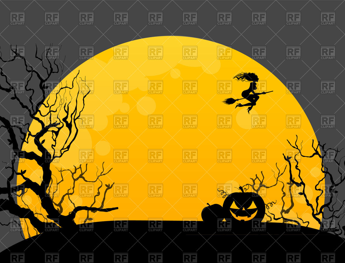 Halloween background with witch pumpkin and moon Vector Image of 1200x917