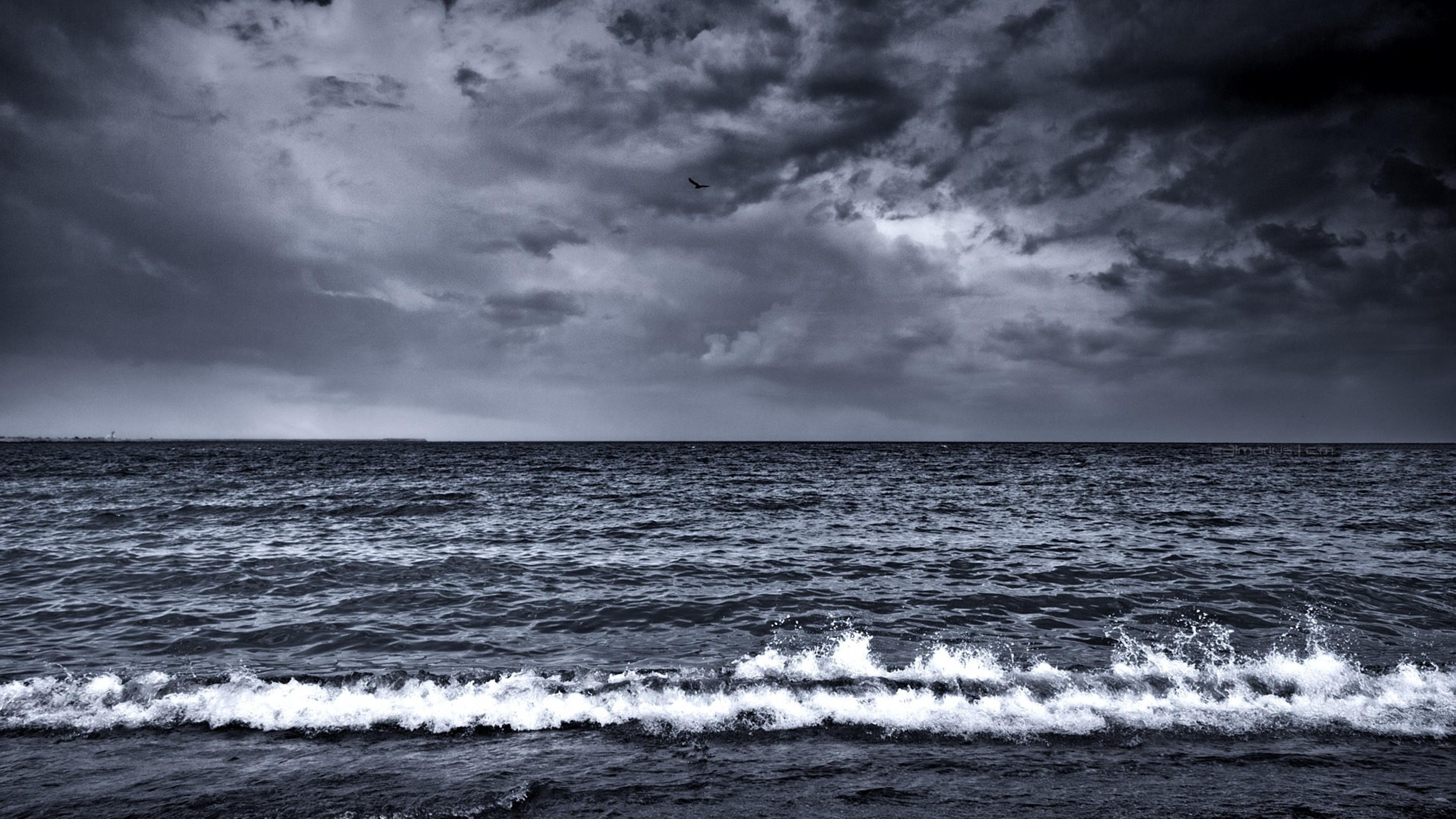 Waves Surf Foam Black and white Wallpaper Background 4K Ultra HD 3840x2160