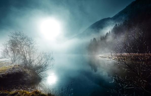 Wallpaper night moon mist river wallpapers nature   download 596x380