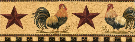 Primitive ROOSTER Wall border Wallpaper Country Decor 550x173