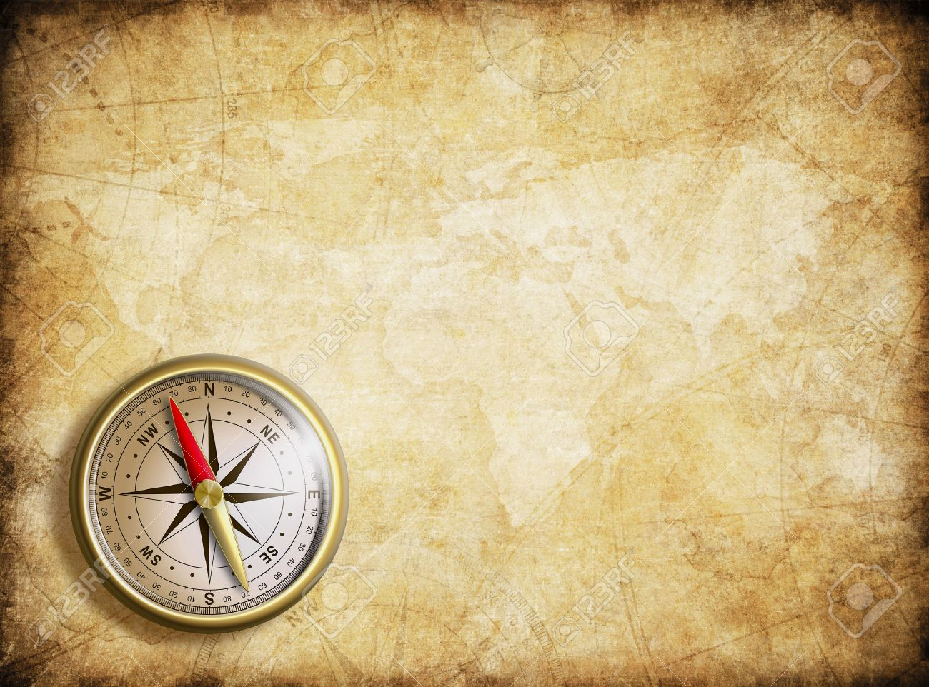 Aged Nautical Treasure Map And Compass Background Stock Photo 1300x962