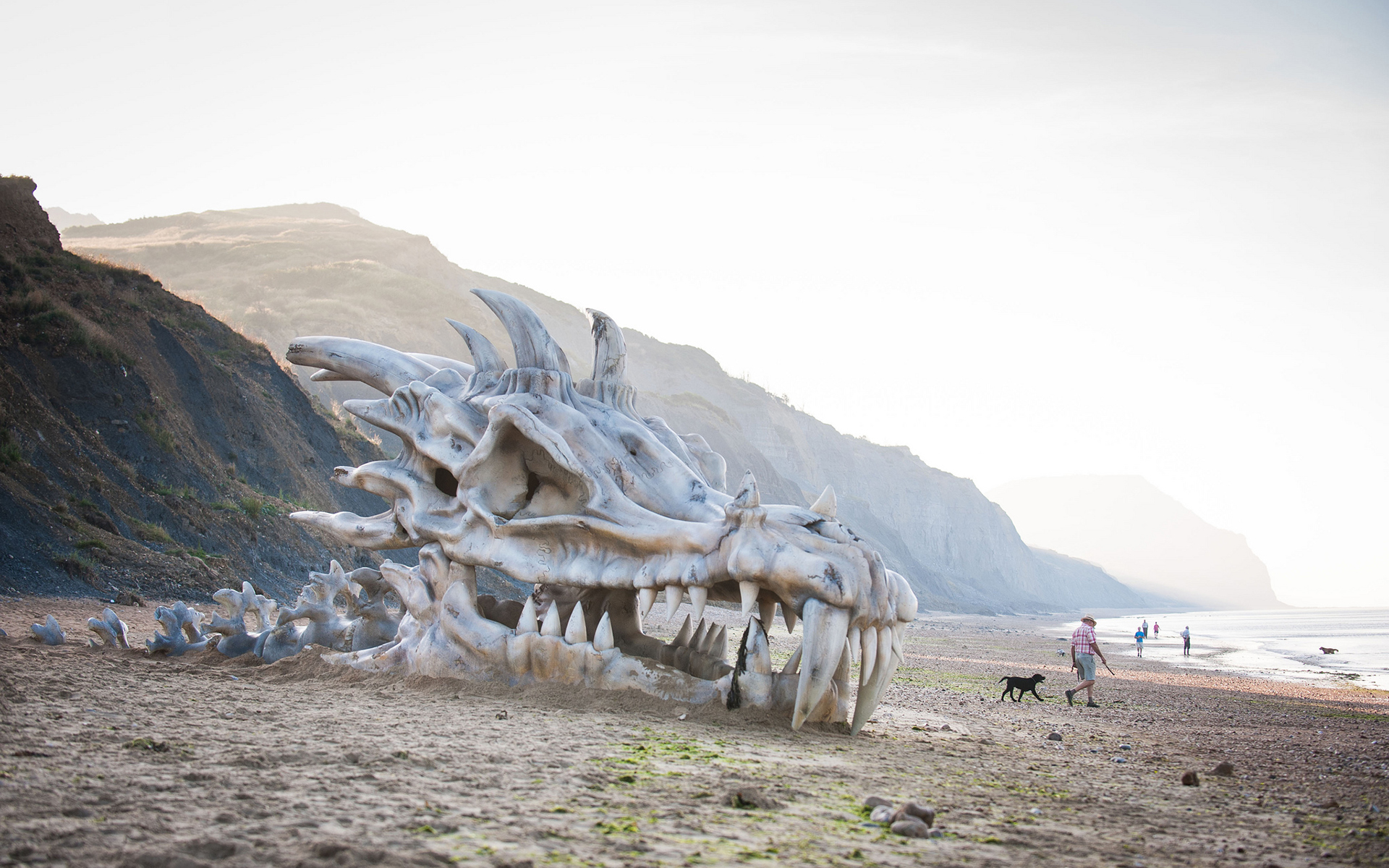 Game of Thrones Dragon Skull Skeleton Bones Beach fantasy dragons 1920x1200