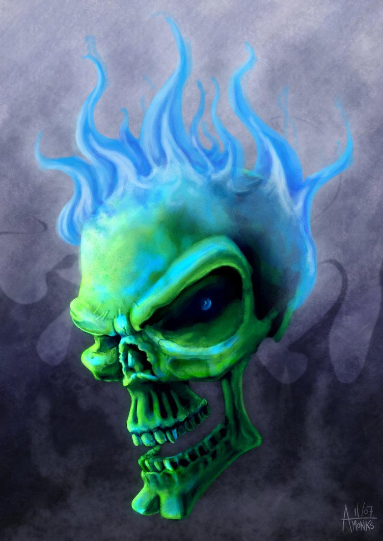 Blue Fire Skull Wallpaper - WallpaperSafari