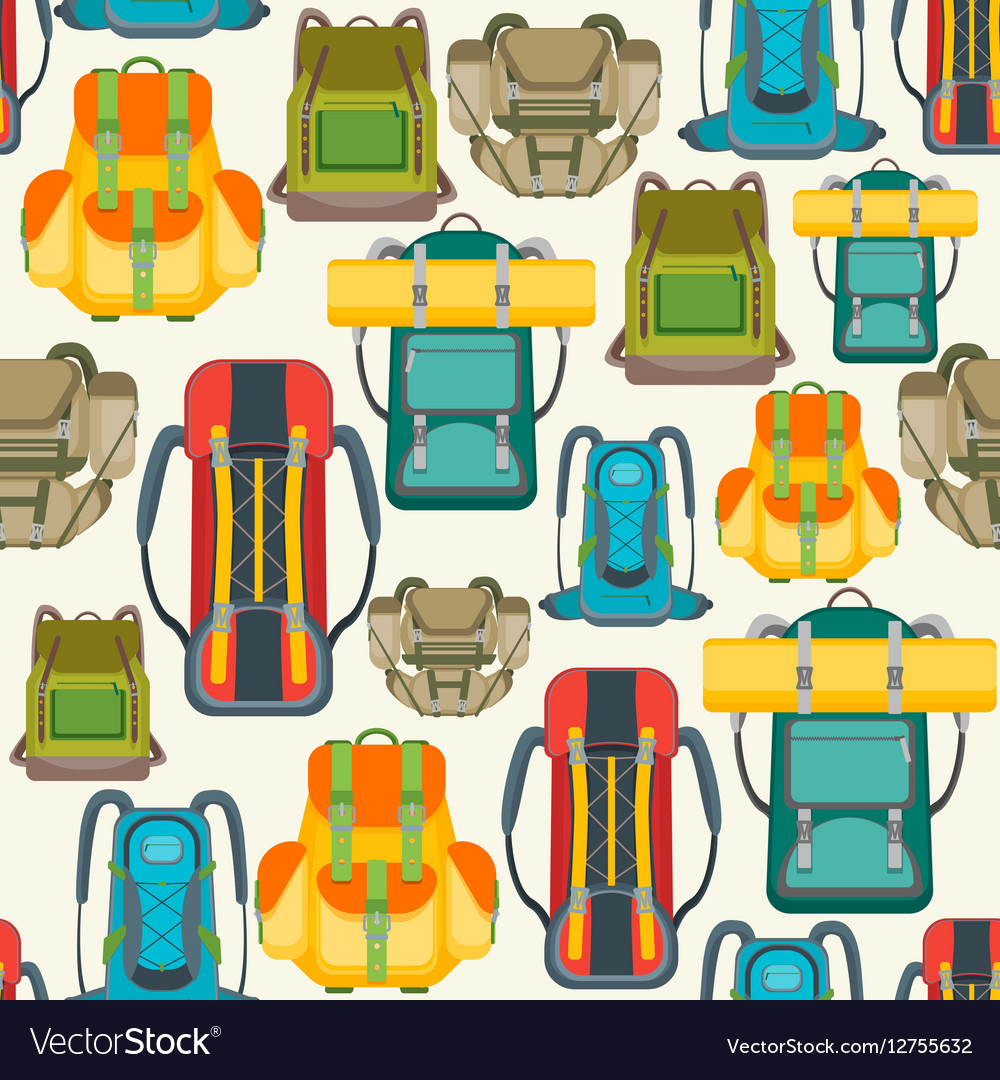 Tourist Camping Backpack Background Pattern Vector Image 1000x1080