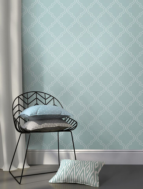 Slate Blue Quatrefoil Peel And Stick NuNuWallpaper 606x800