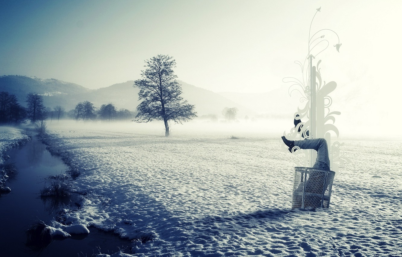 Wallpaper ice winter snow landscape nature purity fog style 1332x850