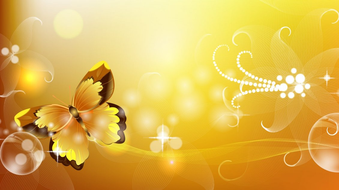 Wallpaper Yellow and brown butterfly   Vector and design wallpaper 1130x635