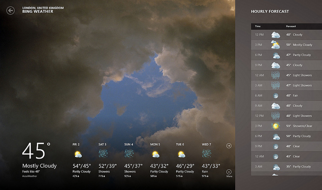 Bing weather for windows 7