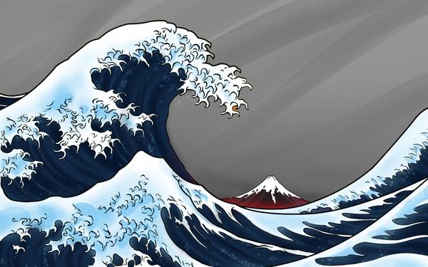 hokusai thirtysix views of mount fuji Waves Wallpaper Desktop 600x375