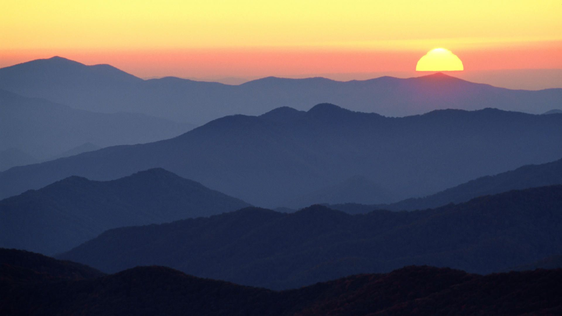 Download Background   Great Smoky Mountains at Sunset Tennessee 1920x1080