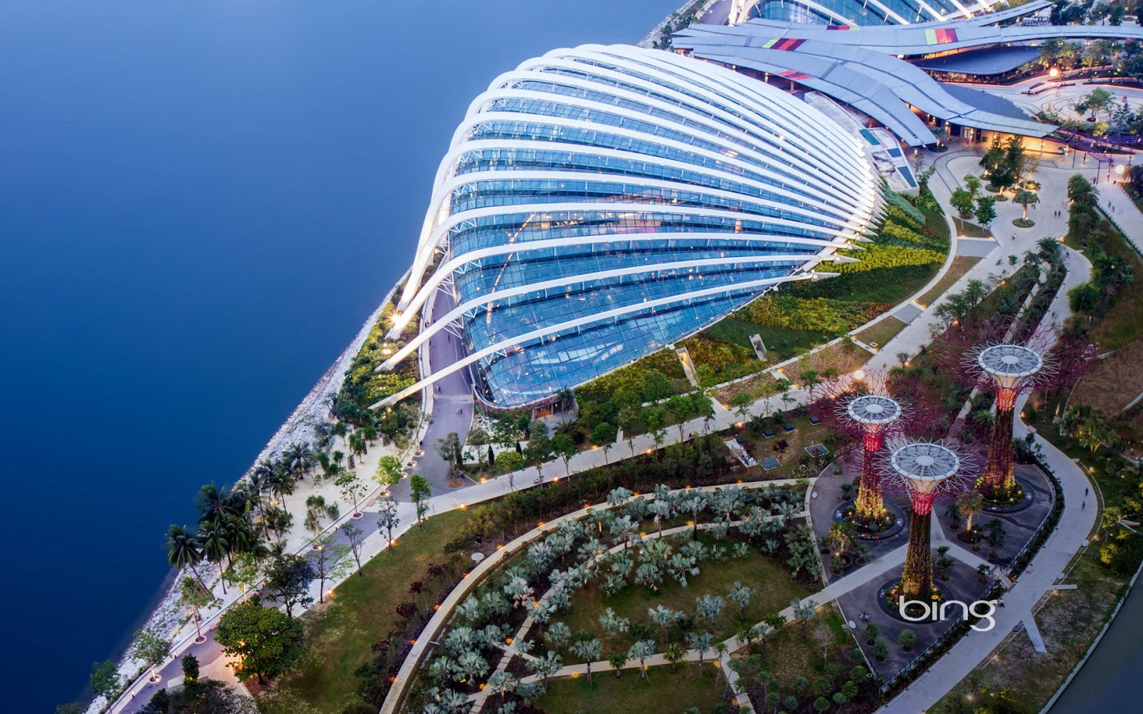 Aerial view of Gardens by the Bay and the Supertrees Grove Singapore 1600x1000