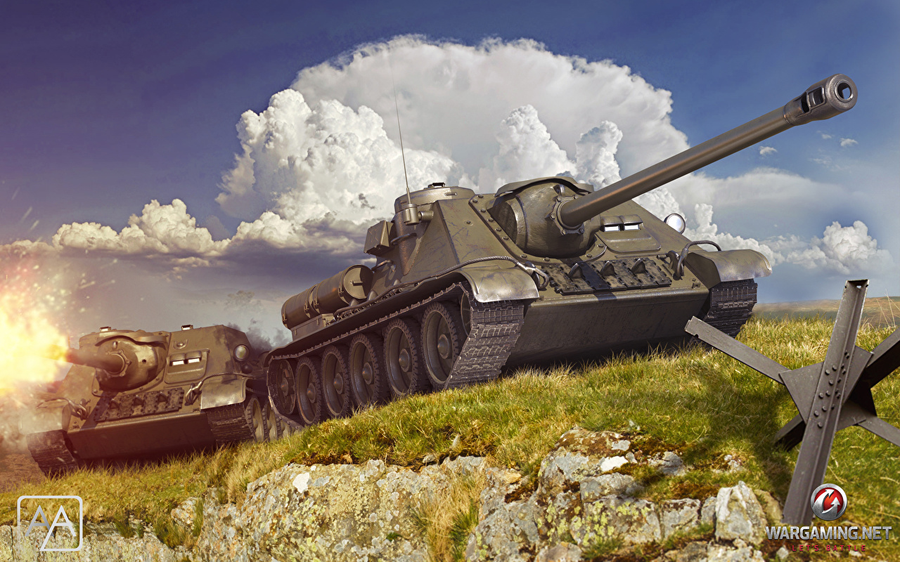 Images World of Tanks SPG USSR SU 85 2 3D Graphics Games 1280x800