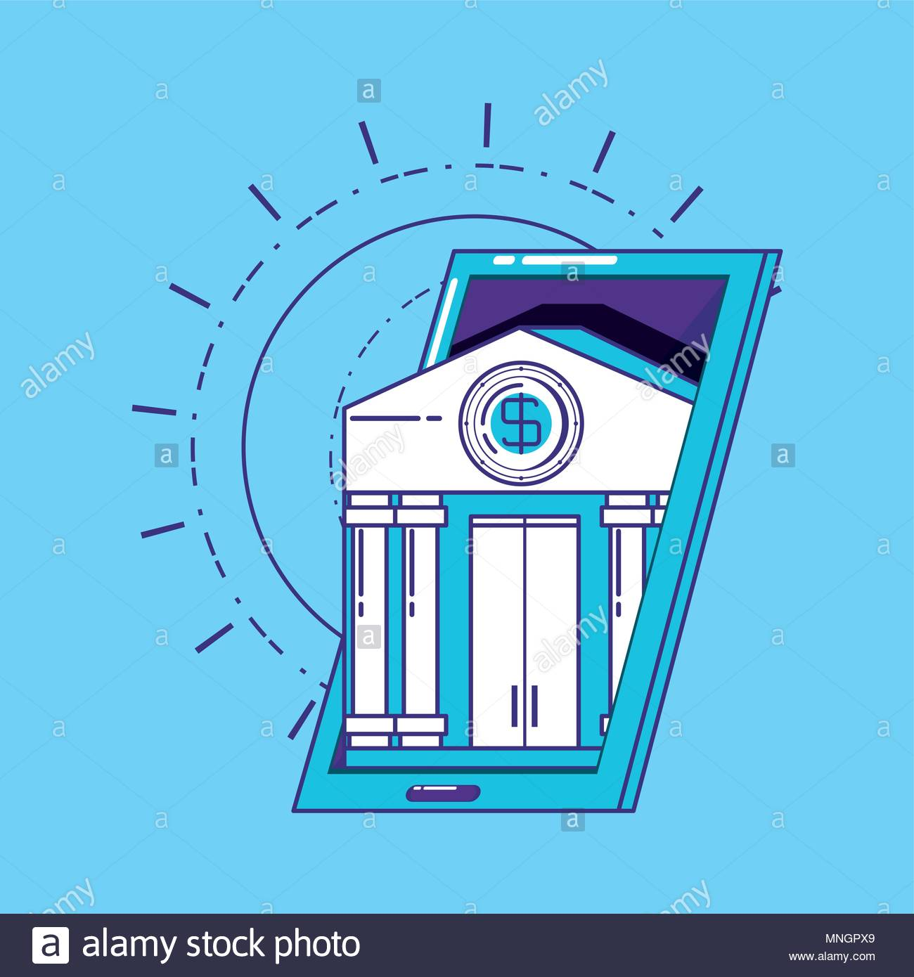 financial technology concept with smartphone with bank building 1300x1390